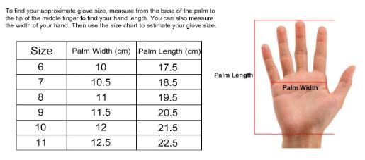 FIT T4 Goalie Glove Size Chart