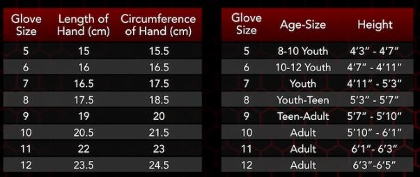 Renegade Goalie Glove Size Chart
