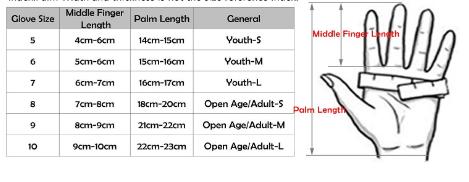 SportOut Goalie Glove Size Chart
