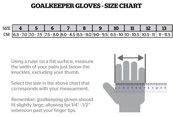 Storelli Goalie Glove Size Chart