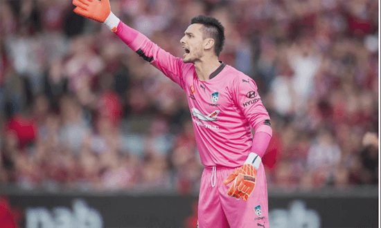 Sydney FC's goalkeeper Vedran Janjetovic shouts instructions during  15 A-League match between Sydney FC and the Western Sydney Wanderers at Pirtek stadium in Sydney NSW Australia, 16th January 2016.